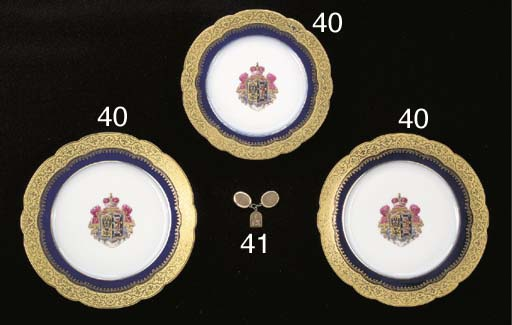 two porcelain armorial dinner
