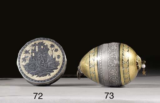 a silver-gilt niello bonbonniè