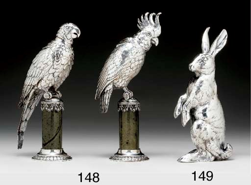 A PAIR OF GERMAN SILVER AND MA