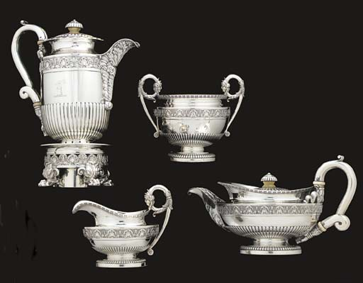 A REGENCY SILVER FOUR-PIECE TE