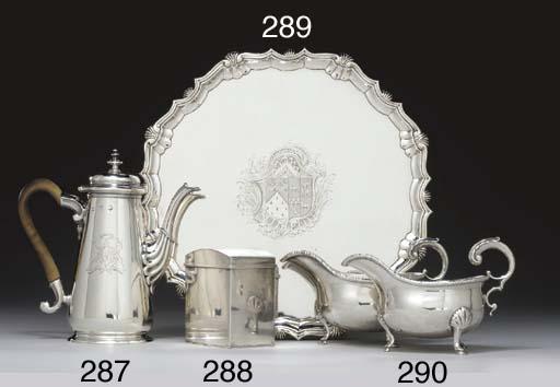 A GEORGE II SILVER TEA CADDY