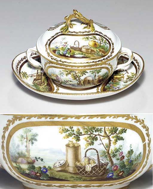 A SEVRES ECUELLE, COVER AND ST