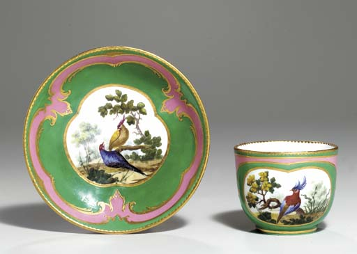 A SEVRES GREEN AND PINK-GROUND