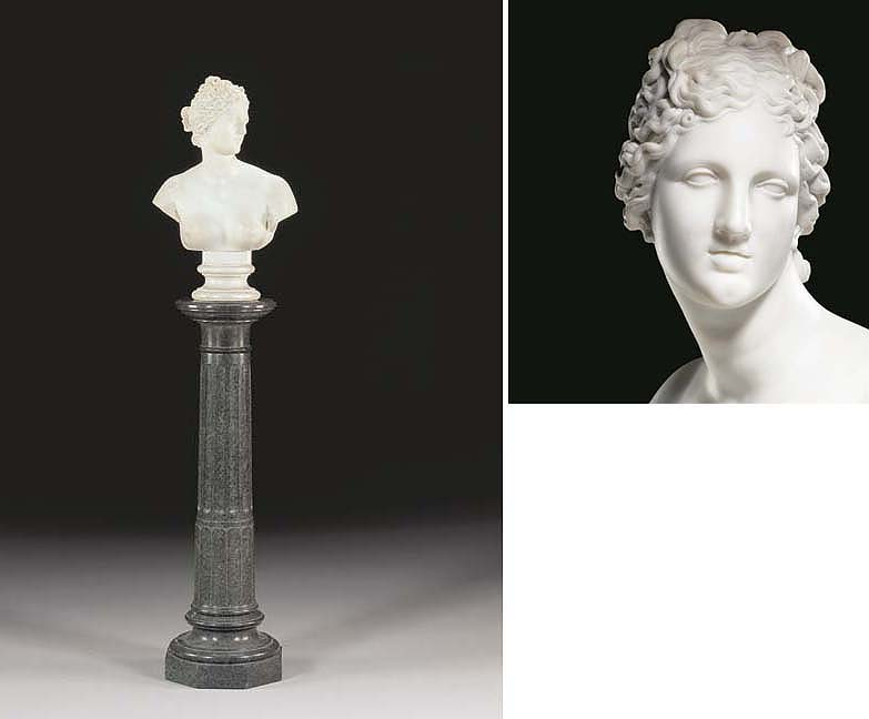 AN ENGLISH MARBLE BUST OF VENU