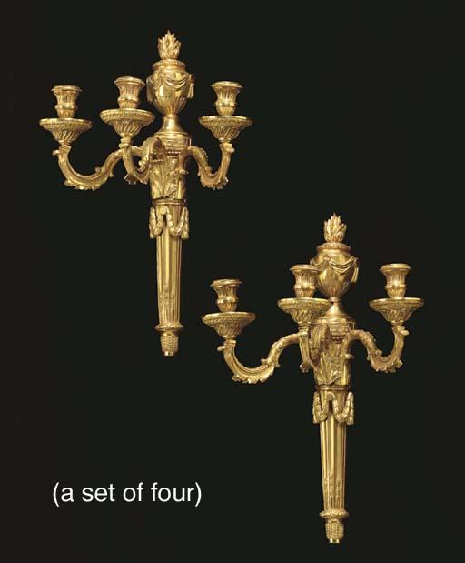 A SET OF FOUR ORMOLU THREE-BRA