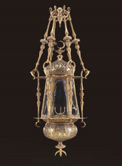 A brass Moorish style hall lan