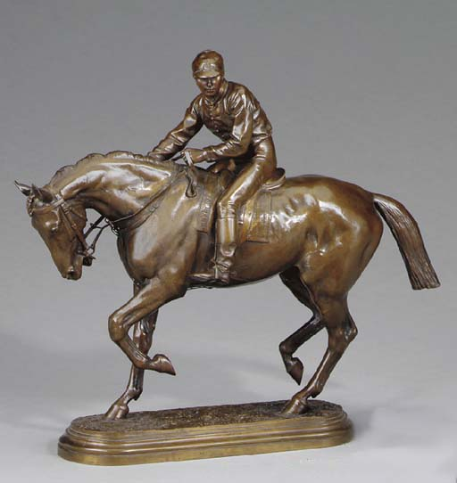 A French bronze figure of a ho