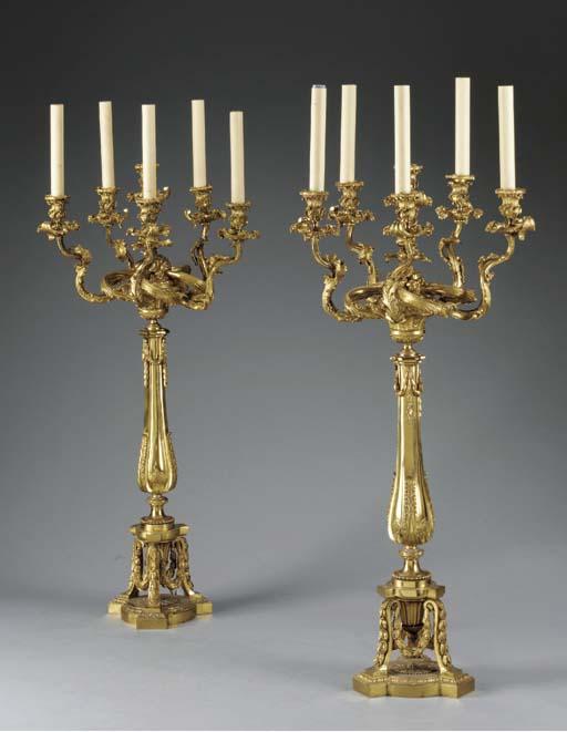A pair of Victorian ormolu six