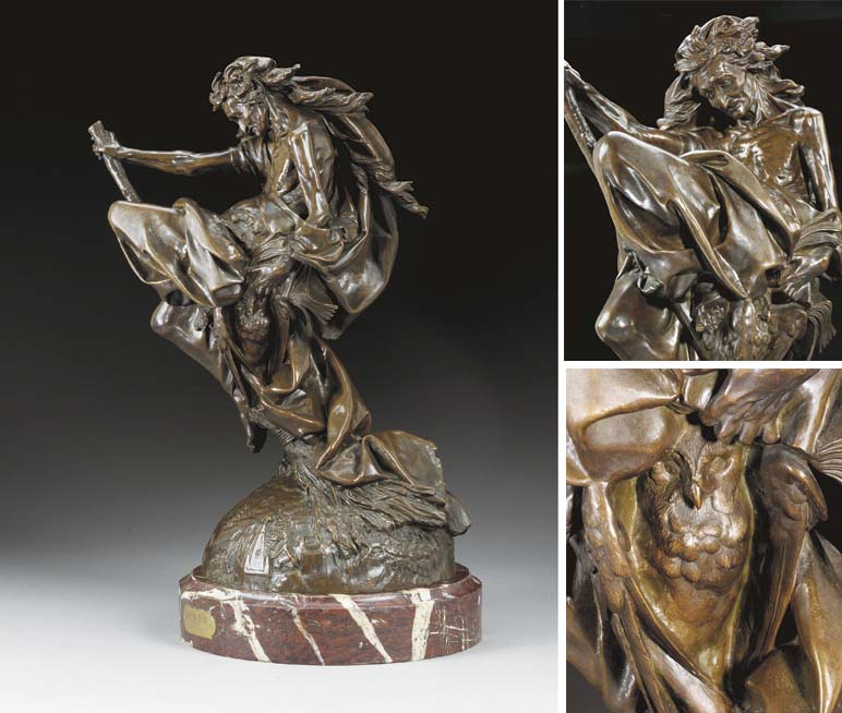 A rare French bronze figure en