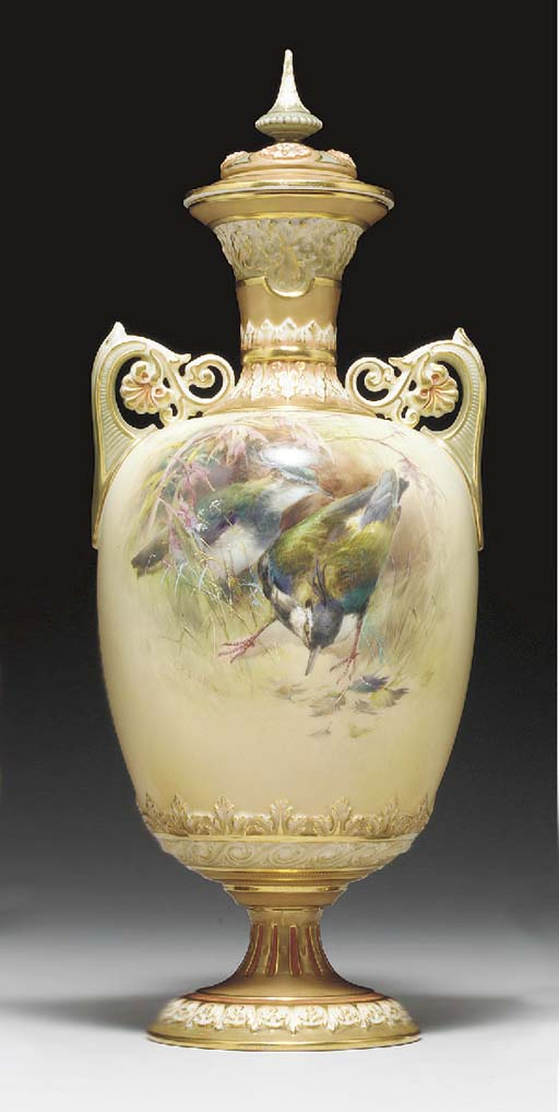 A ROYAL WORCESTER IVORY-GROUND