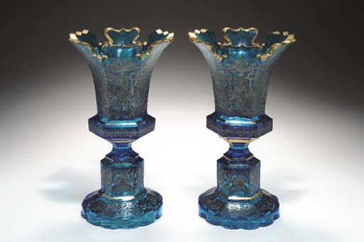 A PAIR OF BOHEMIAN FACETED 'SI