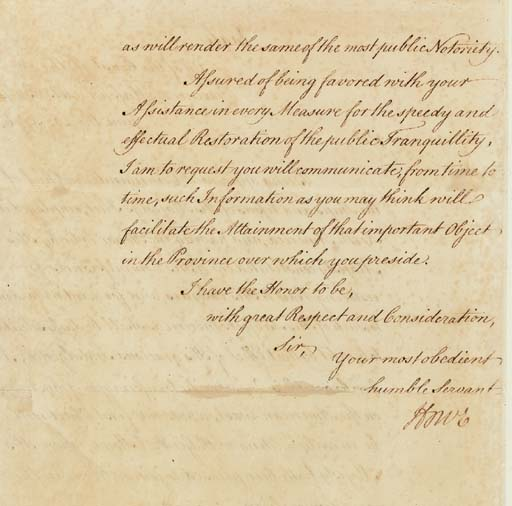 """HOWE, Richard (1726-1799), Viscount, Admiral, Royal Navy. Letter signed (""""Howe"""") TO GENERAL SIR WILLIAM HOWE (his brother), on board the flagship """"Eagle,"""" """"Off the Coast of the Province of Massachusetts Bay,"""" 20 June 1776.  1½ pages, folio (12 x 8 in.), neatly inlaid to a larger sheet, very slight separation along one fold, the text in the fine cursive hand of an aide. Fine condition."""