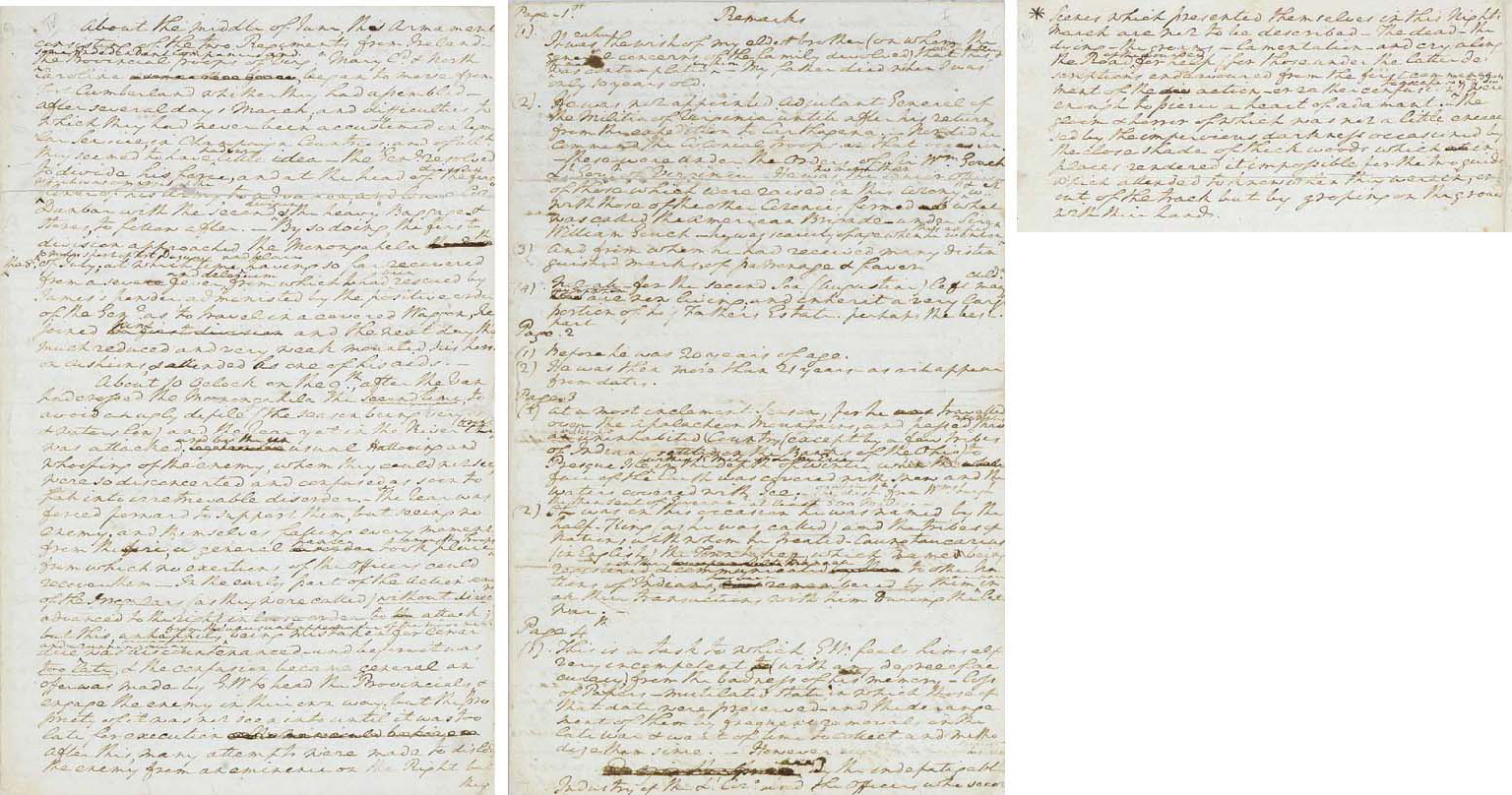 """WASHINGTON, George (1732-1799), President. Autograph manuscript account of his early military career, entitled """"Remarks,"""" prepared as additions to a draft biography by Colonel David Humphreys, [Mount Vernon], n.d. [1786-1789]. 11 pages, folio, 322 x 200mm. (10 11/16 x 7 7/8in.). written on rectos and versos of three bifolios of laid paper watermarked """"L I C,"""" pages 2, 3, 6, 7 and 9 professionally reinforced with tissue to protect weakened folds, with an early cover sheet of a different paper (also reinforced) bearing note of an 1829 owner (see Provenance); enclosed in red morocco gilt folder, silk linings, quarter red morocco gilt folding box."""