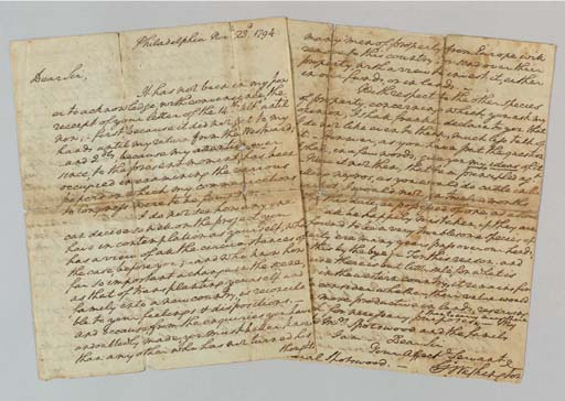 """WASHINGTON, George, President. Autograph letter signed (""""Go: Washington"""") as President to General Alexander Spotswood (1751-1818), Philadelphia, 23 November 1794. 4 full pages, 4to (9 x 7 3/8 in.) splitting at folds with tiny losses at fold intersections, the folds neatly silked."""