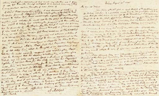 """ADAMS, John. Autograph letter signed (""""J. Adams"""") TO BENJAMIN RUSH, Quincy, Mass., 23 August 1805. 4 full pages, 4to (9 x 7 3/8 in.), closely written. In very fine condition."""