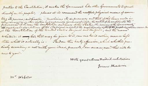 MADISON, James. Letter signed
