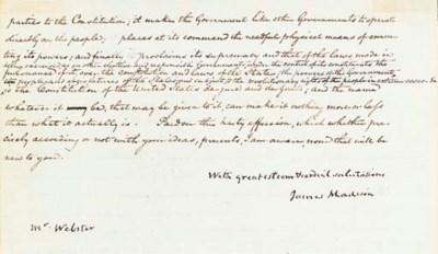 MADISON, James. Letter signed
