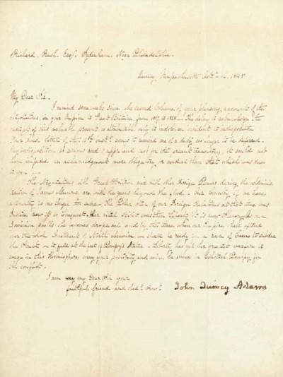 ADAMS, John Quincy. Letter sig