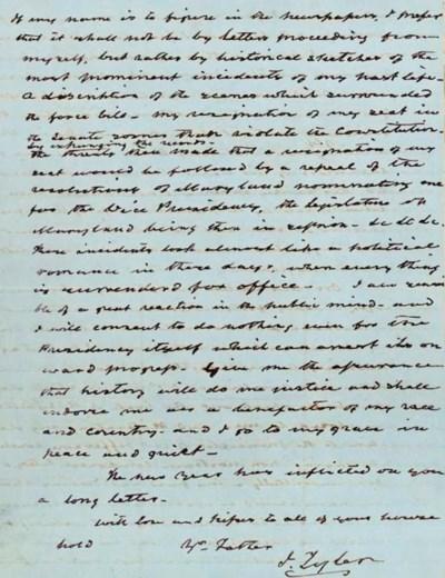 TYLER, John. Autograph letter