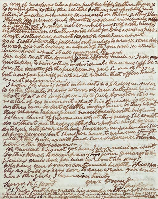 """TAYLOR, Zachary. Autograph letter signed (""""Z.Taylor"""") to his son-in-law, Dr. Robert C. Wood, """"Camp near Monterey Mexico,"""" 14 September 1847. 4 pages, 4to (9 7/8 x 7 7/8 in.), in very fine condition."""