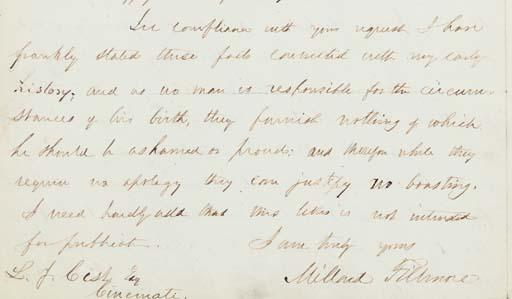 FILLMORE, Millard. Autograph l