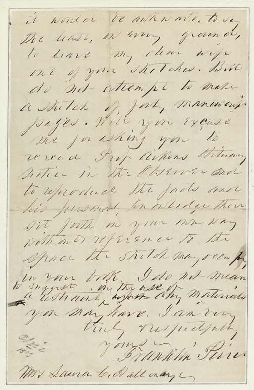 PIERCE, Franklin. Autograph le