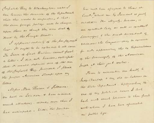 """BUCHANAN, James. Autograph letter signed (""""James Buchanan"""") as Minister to Great Britain, to William Hunter, """"U.S. Legation, London,"""" 15 June 1855. 3½ pages, 8vo (7¼ x 4 9/16 in.), light browning, professional repairs to folds of second leaf affecting a few letters of text on page 4."""