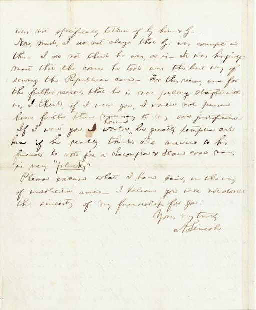 "LINCOLN, Abraham. Autograph letter signed (""A. Lincoln"") to Illinois Congressman William Kellogg (1814-1872), Springfield, Illinois, 11 December 1859."