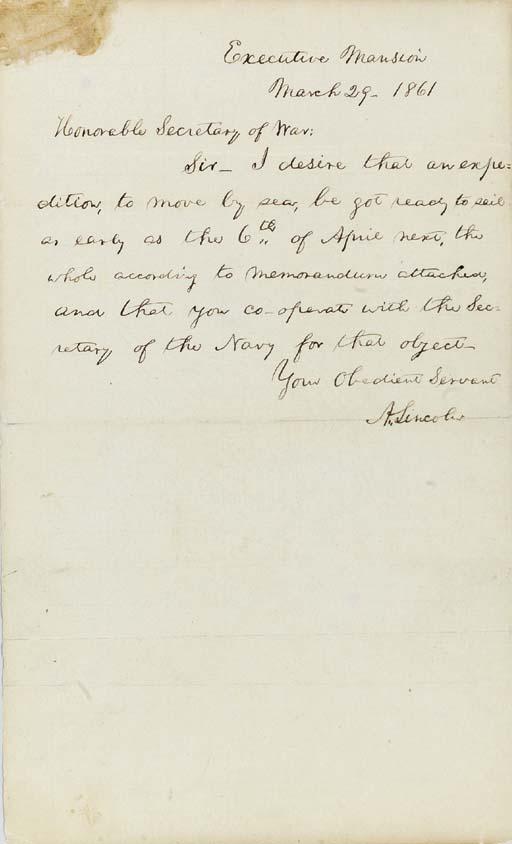 LINCOLN, Abraham.  Autograph l
