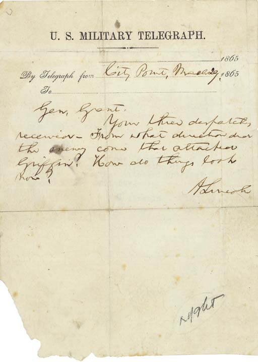 LINCOLN, Abraham. Autograph te