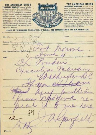 GARFIELD, James A. Autograph t