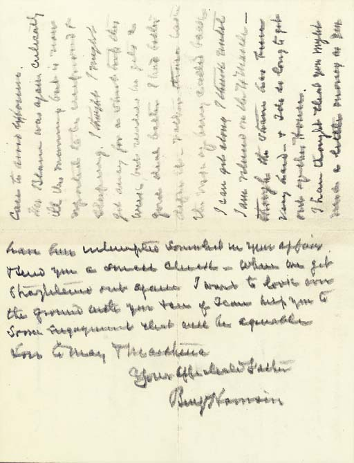 """HARRISON, Benjamin. Autograph letter signed (""""Benj Harrison"""") as President, to his son Russell Harrison (1854-1936), [Washington, 5 February 1893]. 2½ pages, 8vo (7 1/16 x 4 7/16 in.), in pencil, on Executive Mansion mourning stationery, evidence of mounting, otherwise in fine condition."""