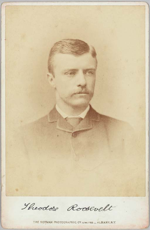 """ROOSEVELT, Theodore (1858-1919), President. Cabinet photo signed (""""Theodore Roosevelt"""") as New York Assemblyman, by the Notman Photographic Company of Albany, N.Y. (imprint at bottom and on verso), [Albany, N.Y., ca. 1884]. 6 5/8 x 4¼ inches, minor discoloration along edges, """"l"""" in signature slightly smeared, otherwise in fine condition."""