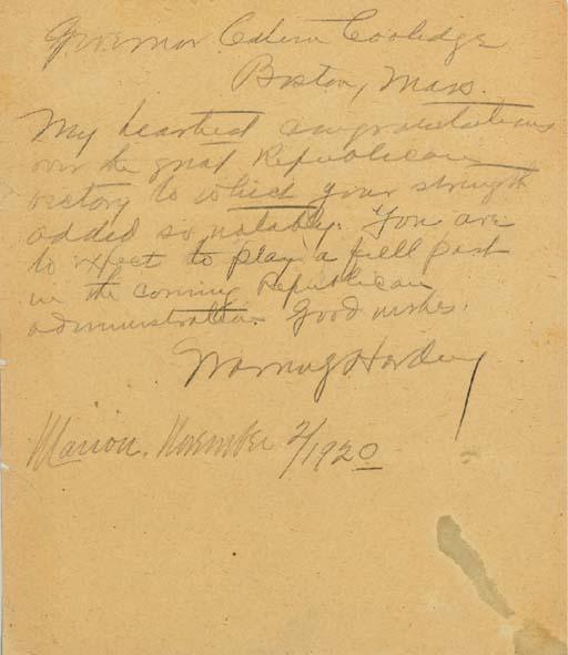 HARDING, Warren (1865-1923), P