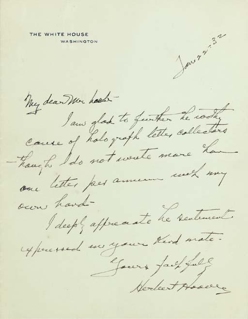 HOOVER, Herbert. Autograph let