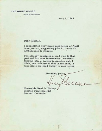 TRUMAN, Harry S. Typed letter