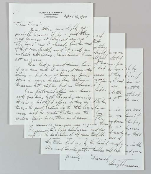 """TRUMAN, Harry S. Autograph letter signed (""""Harry Truman""""), to his former Secretary of State Dean Acheson, """"Coconut Island, Kaneohe Bay, Territory of Hawaii"""", 18 April 1953. 4 full pages, 4to (10½ x 7¼ in.), on rectos only of Truman's personal Hawaii stationery, very small staple holes in upper left corner, otherwise in fine condition. [With:] ACHESON, Dean. Autograph draft letter signed, n.p., 14 April 1953. 4 pp., 4to."""