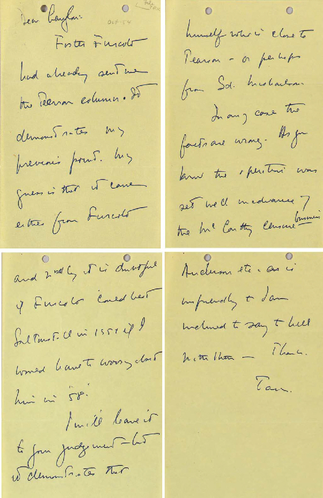 """KENNEDY, John F. Autograph letter signed (""""Jack"""") as Senator, to Langdon P. Marvin, Jr., no place, [October 1954]. 4 pages, 8vo (8½ x 5½ in.), on rectos only of yellow paper, punch holes in top margin, in very fine condition. [With:] a newspaper clipping with red pencil marks possibly made by Kennedy."""