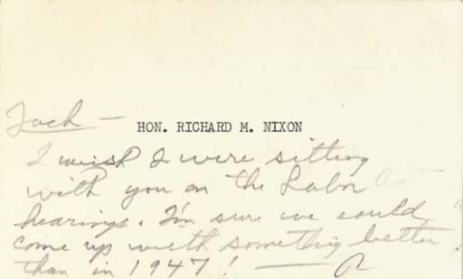 """NIXON, Richard M. Autograph note signed (""""R"""") probably as Vice President, [to John F. Kennedy], n.p., [ca. 1960]. 24 words in pencil, on an oblong card (3 x 4 15/16 in.) with """"Hon. Richard M. Nixon"""" typed in the center."""