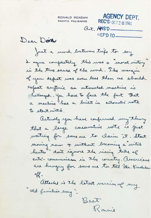 REAGAN, Ronald. Autograph lett