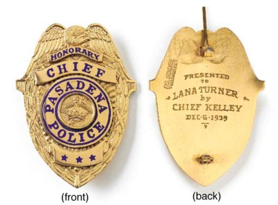 LANA TURNER POLICE BADGE