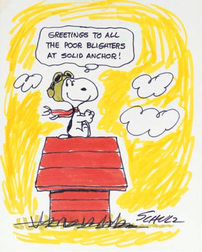 CHARLES SCHULZ DRAWING OF 'SNO