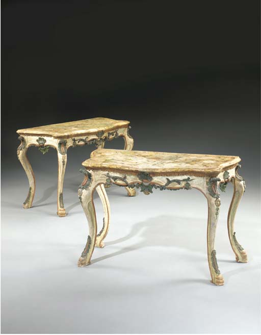 A PAIR OF ITALIAN ROCOCO WHITE AND POLYCHROME-PAINTED CONSOLES