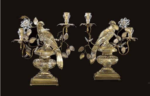 A PAIR OF FRENCH MOLDED GLASS AND GILT-METAL TWO-LIGHT CANDELABRA
