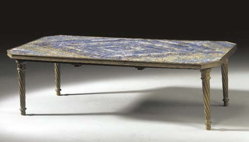 AN ITALIAN NEOCLASSIC STYLE LAPIS LAZULI AND BRASS LOW TABLE