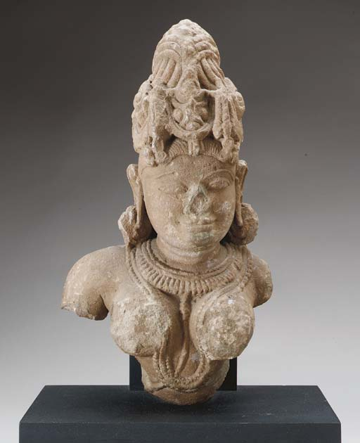 A Sandstone Bust of a Goddess,