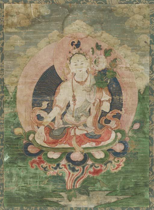 A Thangka of White Tara,
