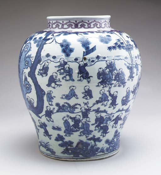 A BLUE AND WHITE JAR,