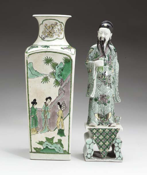 A FAMILLE VERTE VASE AND A FAM