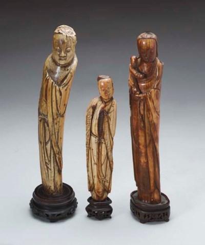 THREE CARVED IVORY FIGURES,